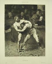 A Gilbert la lutte française Lutteurs d'ap Alexandre FALGUIERE gravure eau forte
