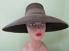 Vintage 1940'S Ladies Wide Brim Straw Hat