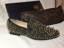 NEW Merlutti Rare Gold Spiked Black Men's Loafers, Fun Fashion
