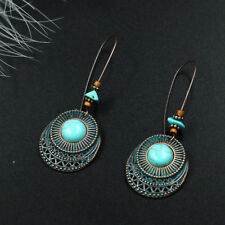Women Vintage Round Turquoise Long Dangle Hook Eardrop Earrings Jewelry Fashion