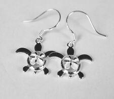 925 Sterling Silver Hawaiian Dangle  Sea Turtle Hibiscus Plumeria Bling Earring