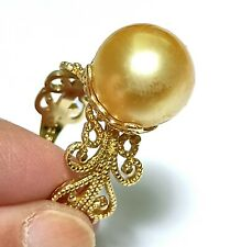 Fabulous 12.7mm Philippines South Sea Natural Round Gold Pearl Ring Size 8 - 9