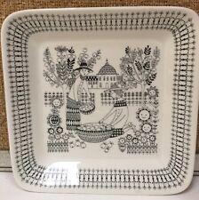 "Arabia Finland 18 Square Dish Black/White Flowers Trees Garden Fruit 7"""