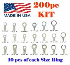"200pc KIT NON-INSULATED RING TERMINALS 2218 1614 1210ga #6-1/2"" UNINSULATED USA"