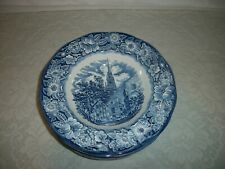 """STAFFORDSHIRE LIBERTY BLUE 8 3//4/"""" FLAT SOUP BOWL OLD NORTH CHURCH Rimmed"""