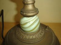 Antique Table Lamp*USA*Artistic Brass And Bronze Works New York*Akro Agate ?