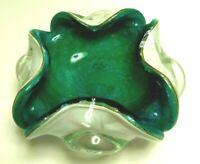 Vintage Mid Century Modern MCM Green White Glass Ashtray