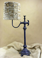 "Side Arm Table Lamp with 12"" White Rag Shade"