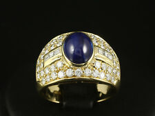 Traumhafter Brillant Carre Saphir Ring ca. 4,30ct    750/- Gelbgold