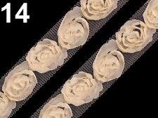 Borte Zierband Zierborte Tüll Röschen Rosen Röschenborte Blume Tüllrosen creme