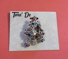 Christmas Tree Silver Tone Red Green Aurora Borealis Ab Rhinestones Pin Tara De