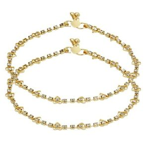 Indian Bollywood Anklet Designer Stone Gold Plated Women Payal Fashion Jewelry