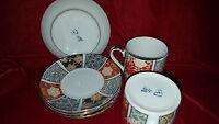 Set of 4 Oriental Demitasse cup and saucers/Imari Fan by Arita