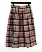 vtg 70s Flying Colors ladies Pleated Wool Plaid A-Line Skirt sz 26 waist