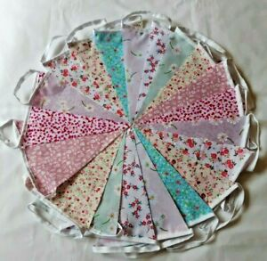 20ft Fabric Bunting Clearance Sale Wedding Shabby Chic 20ft 6m Handmade .