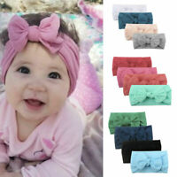 New Girls Baby Toddler Turban Solid Headband Hair Band Bow Accessories Headwear