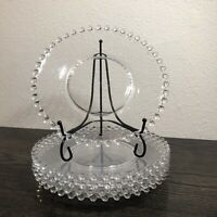 """Vintage Imperial Glass Candlewick Clear Plate Beaded Edge 8 3/8"""" Set Of 6"""