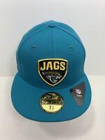 "New Era 59FIFTY Teal Blue Jacksonville Jaguars 7 5/8"" Fitted Flat Bill Cap, NEW!"