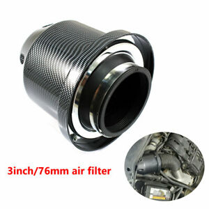 Universal Carbon Fiber 3''76mm Car SUV High Flow Cold Air Intake Filter Cleaner