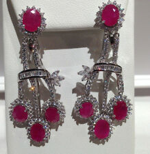 94 CTS!! HUGE!! NATURAL AAA DEEP RICH RED RUBY 925 SILVER EARRINGS 2 1/4""