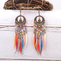 Women Vintage Ethnic Feather Earrings Drop Jewelry Rainbow Dangle Gift