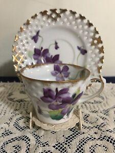 Beautiful Vintage Lefton Tea Cup & Saucer Purple Violets Hand Painted Gold Trim