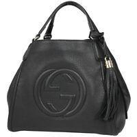 GUCCI Soho Hand Bag Tassel Fringe 2WAY Shoulder Bag Hand Bag leather Black 3...