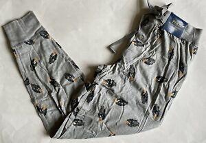 NWT Mens Polo Ralph Lauren Tuxedo Bear Logo Knit Jogger Pajama Pants Gray M
