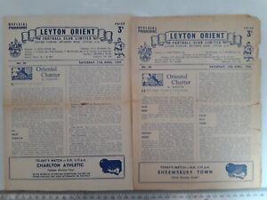 Leyton Orient 1950s bundle of 4 programmes