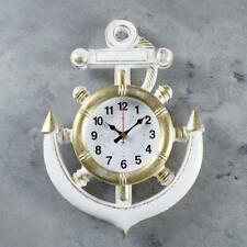 Wanduhr Maritim Deko Uhr weiß gold farbe Leuchtturm Anker Steuerrad 39 cm RUBIN