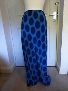 MONSOON ALL SILK LONG VINTAGE SKIRT TURQUOISE blue spots polkadots size 12