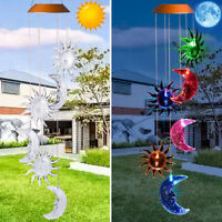 Hanging Wind Chimes Solar Powered LED Light Waterproof For Garden Hom