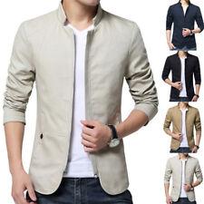Stylish Mens Jacket Slim Fit Collar Coat Fashion Casual Outwear Blazer Outerwear