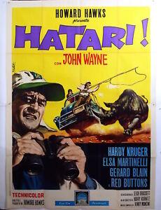 Italian 4sh poster-HATARI-JOHN WAYNE-HAWKS-ADVENTURE-D92-4