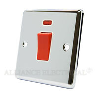 Polished Chrome Classical 45A Cooker Switch - 45 Amp DP Switch w/ Neon Indicator