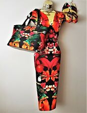 Ted Baker Bismii Tropical Toucan Bodycon Fitted Evening Dress 14 TB4*Shoes Bag L