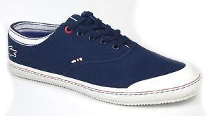 Lacoste Manville Casual Canvas Trainers Pumps Mens Lace Shoes Navy