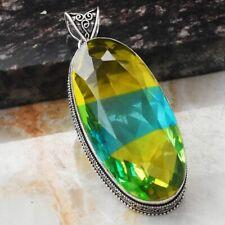 "Bi-Color Tourmaline Ethnic Jewelry Handmade Antique Design Pendant 3"" AP 13590"