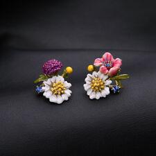Copper Yellow Gold Plated Red Enamel Flower Elegant Fashion Earrings Ear Stud