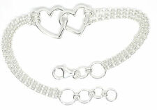 Genuine 925 solid sterling silver double heart bracelet chain link free box