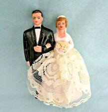 Vintage Bisque Porcelain Bride & Groom Cake Topper ~ Wilton Chicago