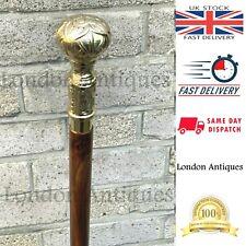 Walking Cane Brass Stick Handle Wooden Vintage Designer Antique Victorian Style