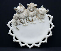 "Vintage 7"" Westmoreland Milk Glass 3 Kittens Cats Plate"