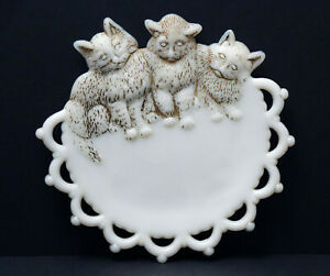 "Vintage 7"" Westmoreland Milk Glass 3 Kittens Cats Plate"