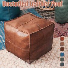 45cm Square Large Unstuffed Moroccan Leather Ottoman Pouffe Pouf Home Furniture