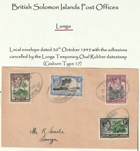 c.1945 BRITISH SOLOMON ISLANDS COVER LUNGA RUBBER POSTMARKS LOCAL USE 4 STAMPS