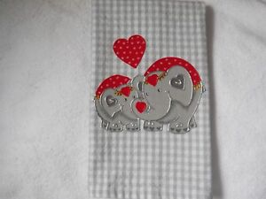 Valentine's Day Bathroom or Kitchen Hand Towel Elephants on Gray Check NWT