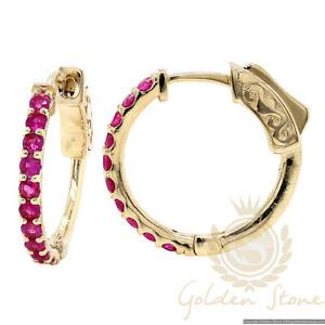 0.72 tcw Ruby Round Hoop Huggie Earrings in 14K Yellow Gold NEW