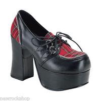 Demonia Charade-12 Goth Punk Lolita Black Red Pu Eyelette Strap Mary Jane  Shoes