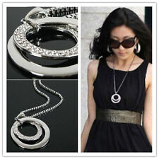 Woman Necklace Long Chain Round Pendant Jewelry Rhinestone Sweater Decor Gifts